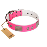 """Pink Blush"" Premium Quality FDT Artisan Pink Designer Rottweiler Collar with Plates and Studs"