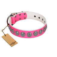 """Pink Garden"" Designer FDT Artisan Pink Leather Rottweiler Collar for Stylish Look"