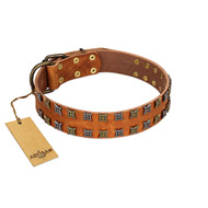 """Terra-cotta"" FDT Artisan Tan Leather Rottweiler Collar with Two Rows of Studs"