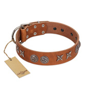"""Brave Spirit"" Handmade FDT Artisan Designer Tan Leather Rottweiler Collar with Shields"