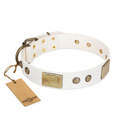 """Pure Elegance "" FDT Artisan White Decorated Leather Rottweiler Collar - 1 1/2 inch (40 mm) wide"