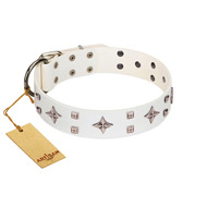 """The Milky Way"" FDT Artisan White Leather Rottweiler Collar Adorned with Stars and Tiny Squares"