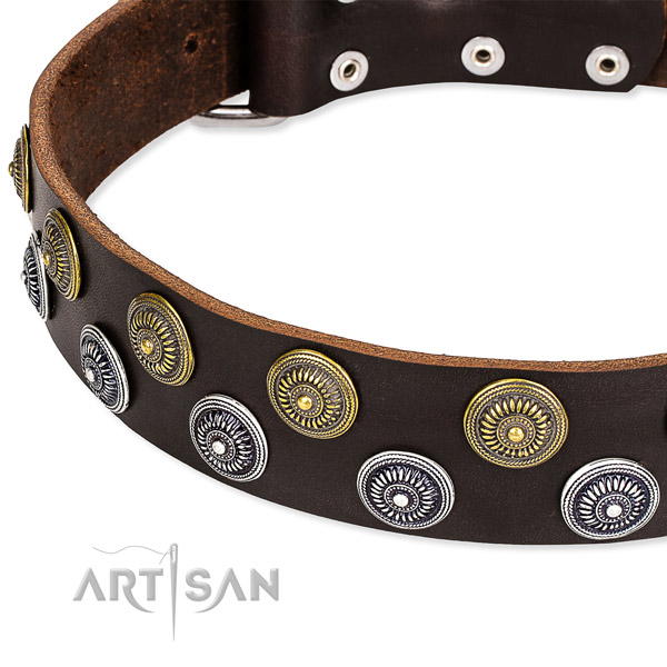 Adjustable leather dog collar with resistant to tear and wear durable set of hardware