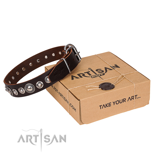 Perfect fit full grain natural leather dog collar for daily walking