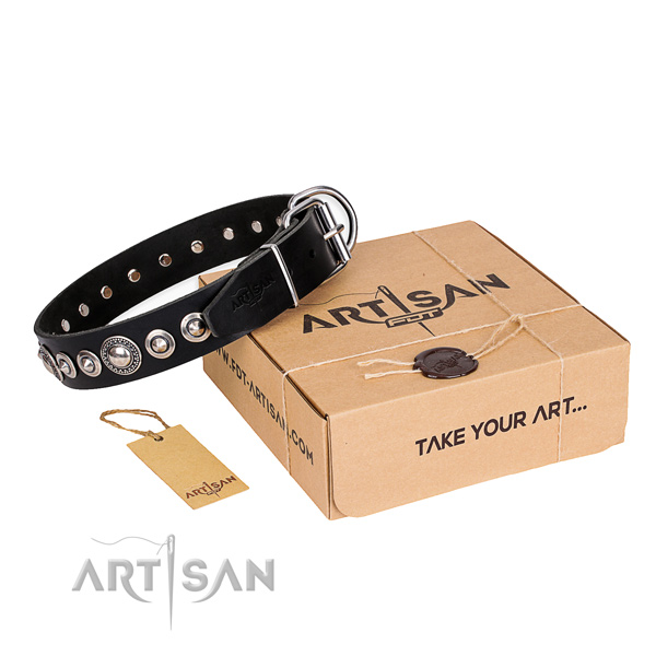 Stylish design genuine leather dog collar for daily use
