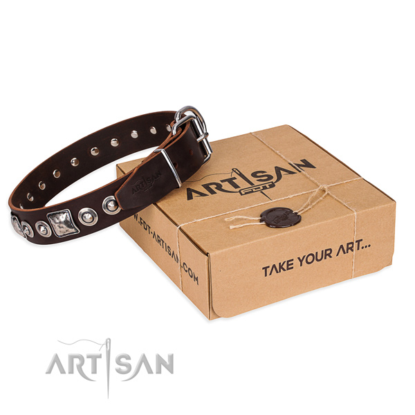 Designer genuine leather dog collar for stylish walking