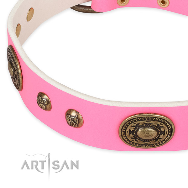 Stylish walking genuine leather collar with corrosion proof buckle and D-ring