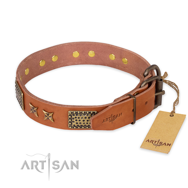 Everyday use natural genuine leather collar with decorations for your doggie