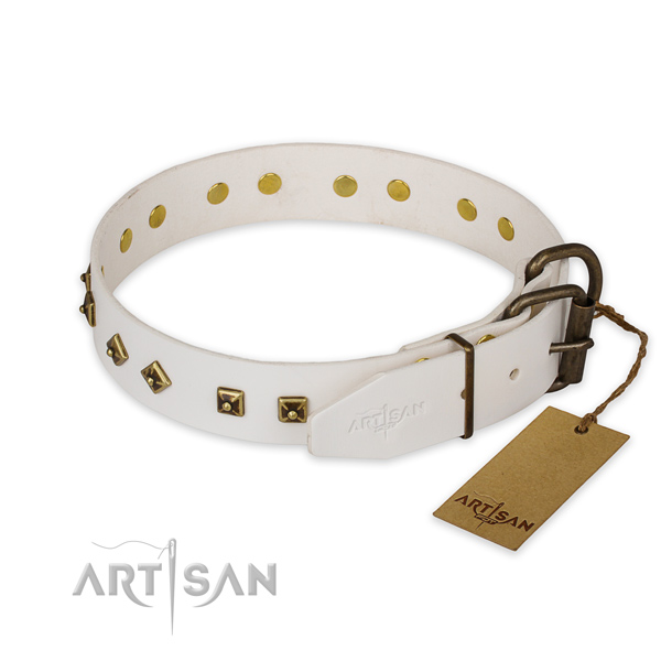Handy use full grain leather collar with studs for your pet