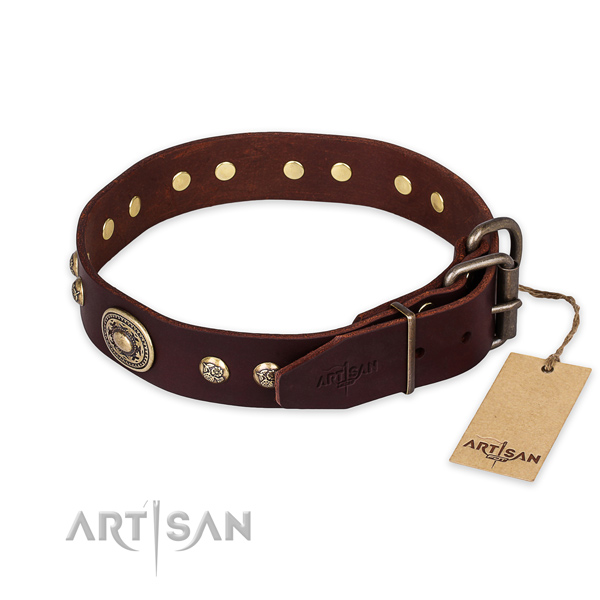Daily use genuine leather collar with decorations for your four-legged friend