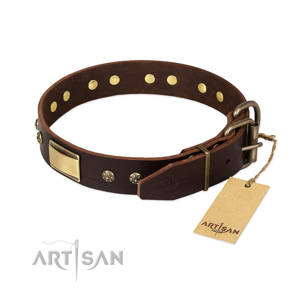 Handy use genuine leather collar with decorations for your dog