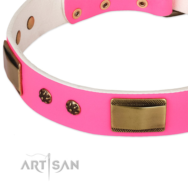 Handy use genuine leather collar with strong buckle and D-ring