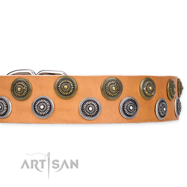 Adjustable leather dog collar with almost unbreakable durable buckle and D-ring