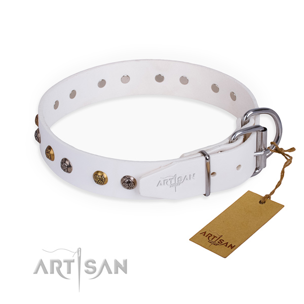 Exquisite design decorations on full grain natural leather dog collar