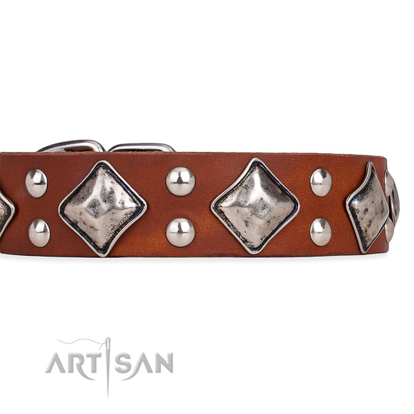Adjustable leather dog collar with resistant to tear and wear rust-proof buckle