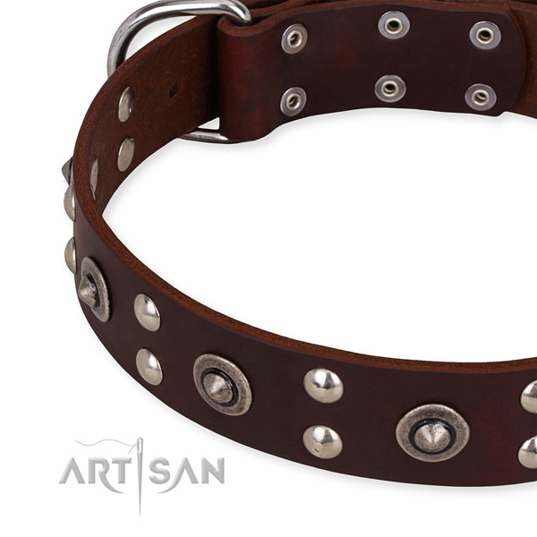 Adjustable leather dog collar with almost unbreakable non-rusting hardware