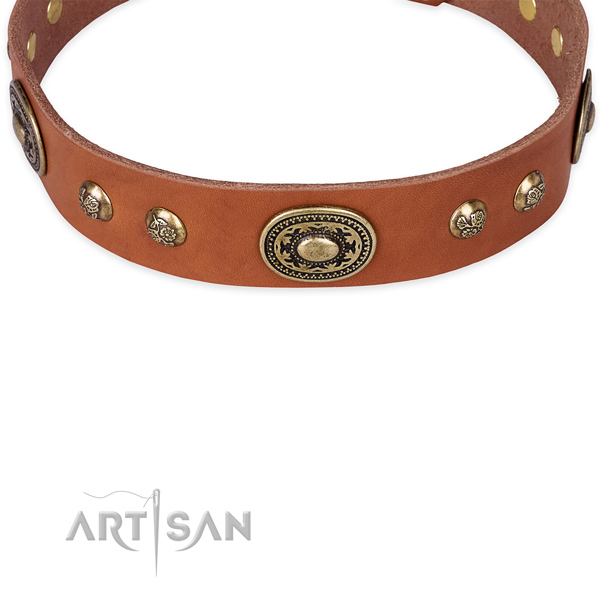 Stylish walking full grain natural leather collar with corrosion proof buckle and D-ring
