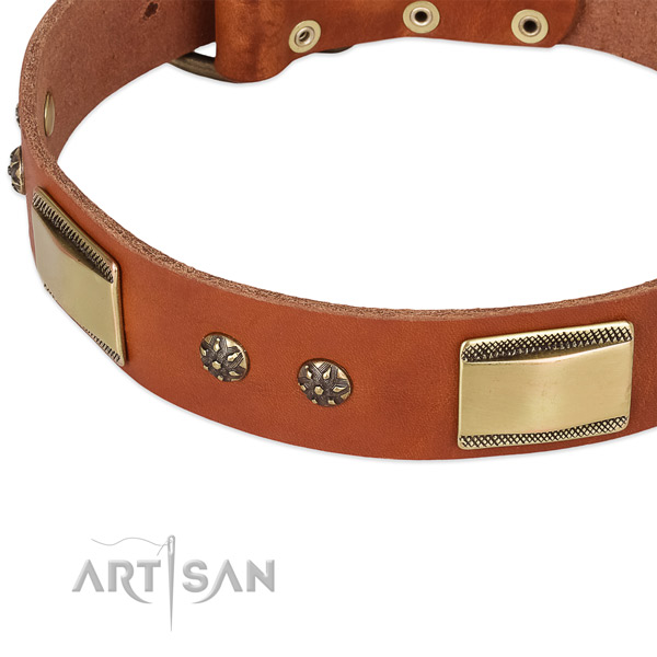 Everyday use full grain genuine leather collar with corrosion proof buckle and D-ring