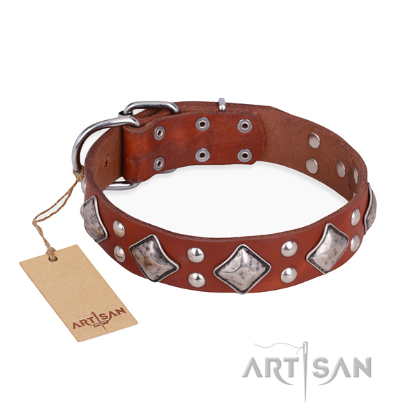 Significant design embellishments on full grain genuine leather dog collar