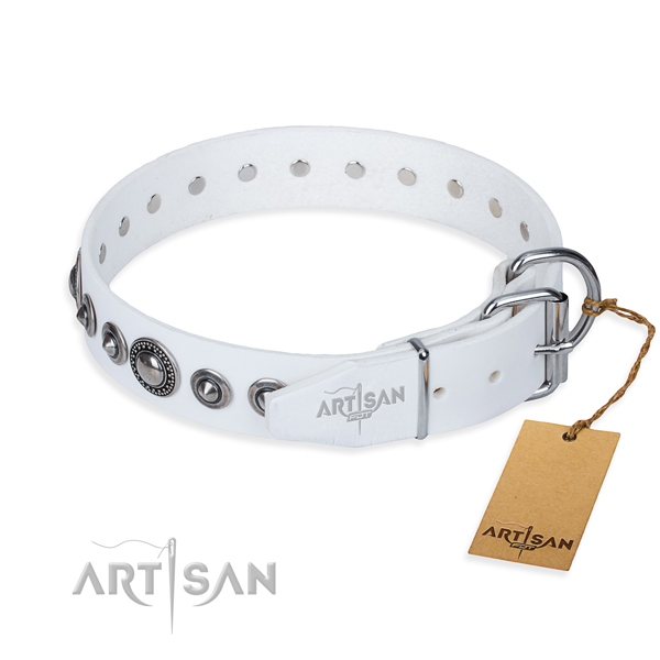 Long-wearing leather dog collar with strong elements