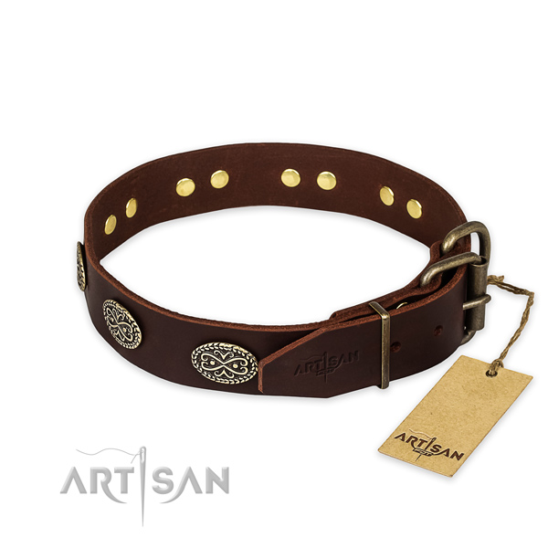 Extraordinary design embellishments on natural genuine leather dog collar