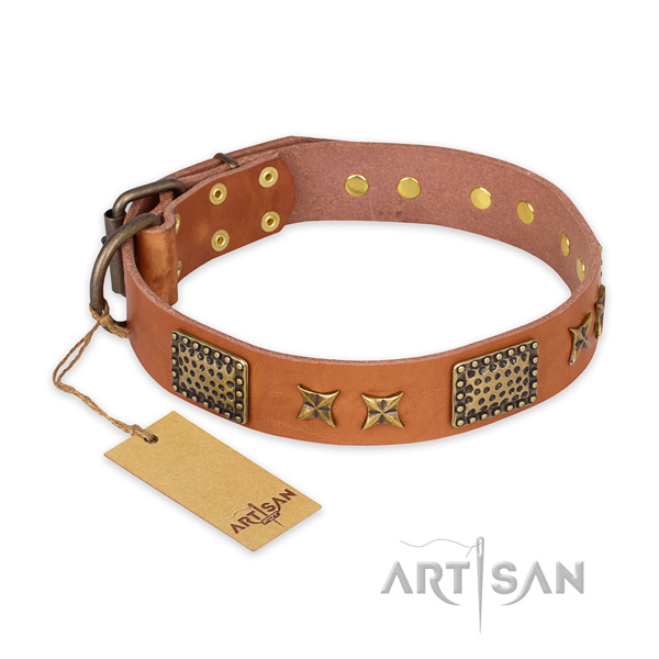 Top notch design adornments on natural genuine leather dog collar