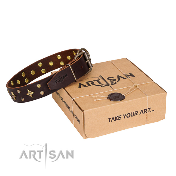 High quality full grain genuine leather dog collar for walking