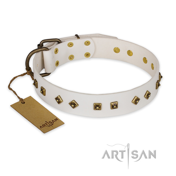 Awesome design decorations on natural genuine leather dog collar