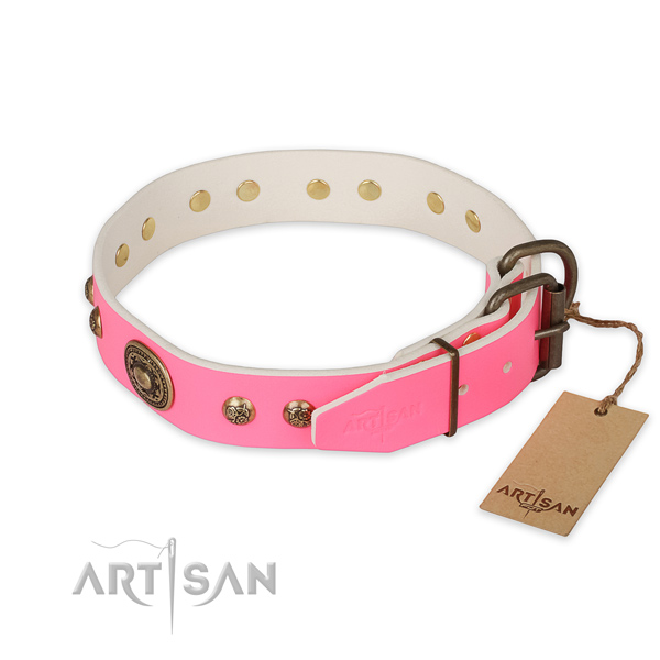 Handy use full grain genuine leather collar with decorations for your dog