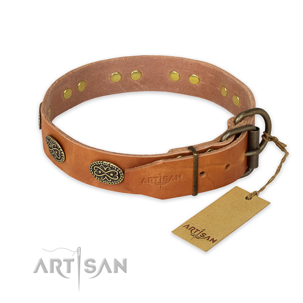 Everyday use full grain leather collar with decorations for your dog