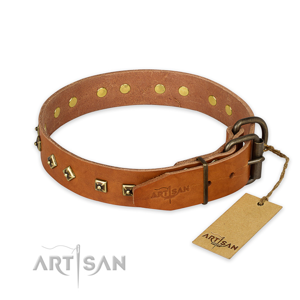 Daily walking natural genuine leather collar with adornments for your doggie
