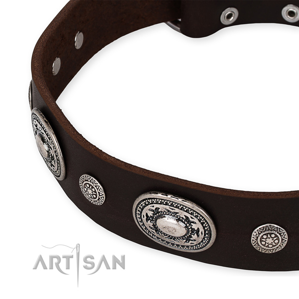 Easy to adjust leather dog collar with resistant rust-proof buckle