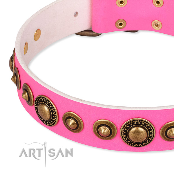 Easy to use leather dog collar with resistant old bronze-like plated buckle and D-ring