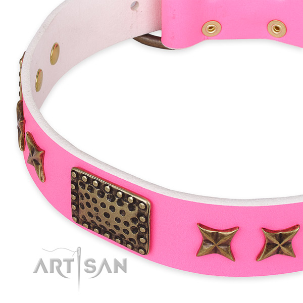 Easy to adjust leather dog collar with resistant rust-proof buckle and D-ring