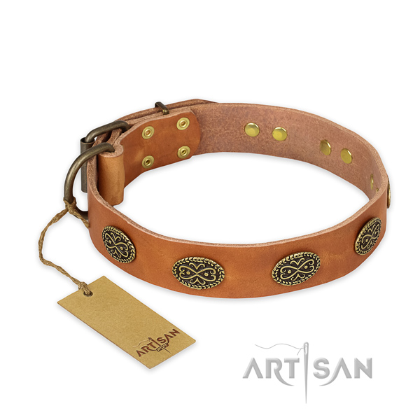 Impressive design studs on natural genuine leather dog collar