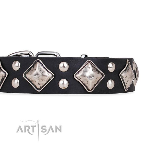 Easy to adjust leather dog collar with almost unbreakable durable fittings