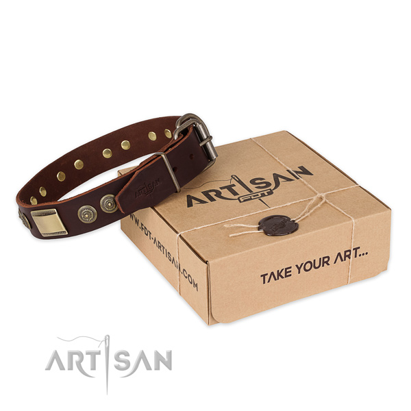 Fine quality natural genuine leather dog collar for walking in style