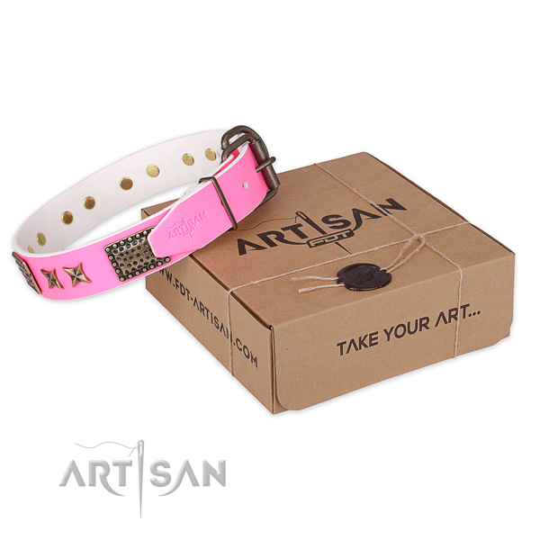High quality natural genuine leather dog collar for stylish walks