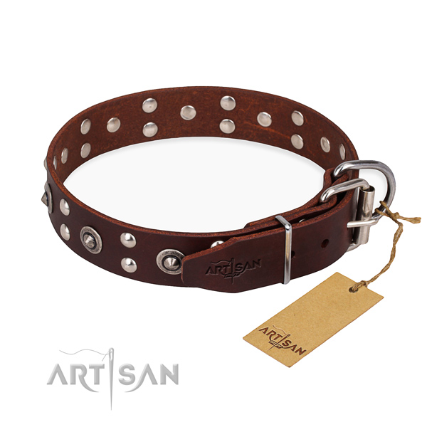 Handy use full grain genuine leather collar with decorations for your doggie