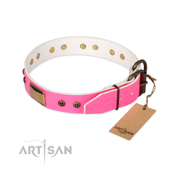Handy use full grain genuine leather collar with adornments for your doggie