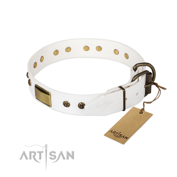 Handy use leather collar with adornments for your doggie