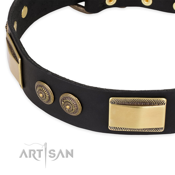 Daily use full grain natural leather collar with durable buckle and D-ring
