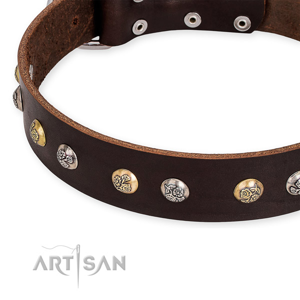 Snugly fitted leather dog collar with almost unbreakable non-rusting buckle