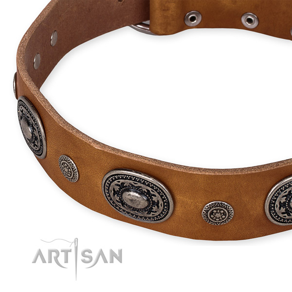 Easy to use leather dog collar with almost unbreakable durable buckle