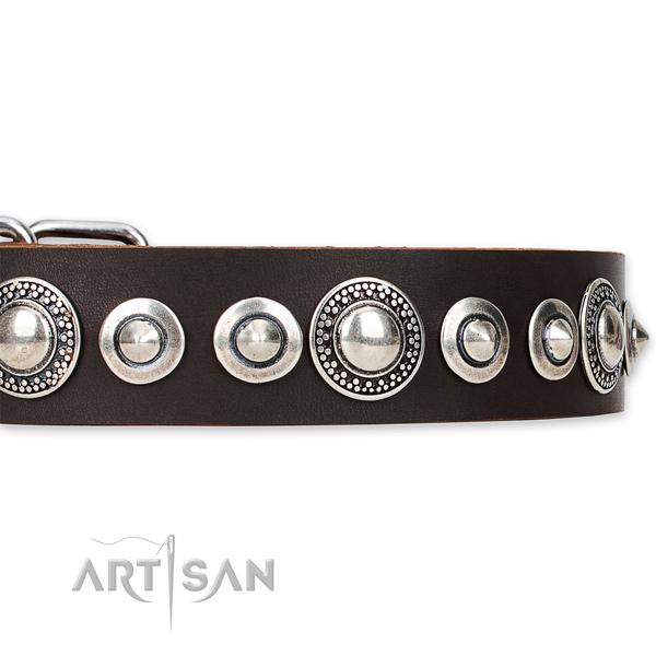Easy to adjust leather dog collar with almost unbreakable non-rusting set of hardware