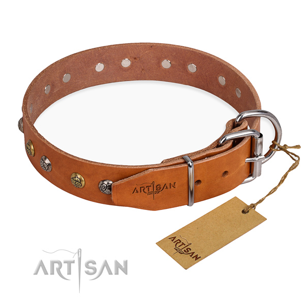 Exquisite design decorations on natural genuine leather dog collar