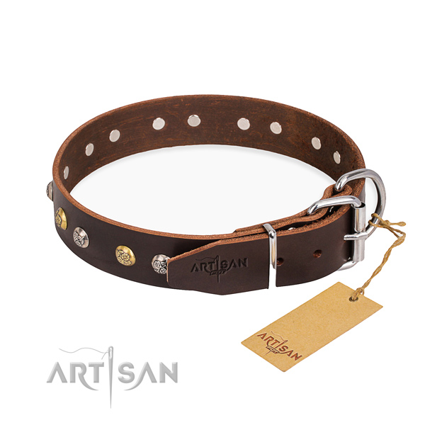 Durable leather collar for your gorgeous pet