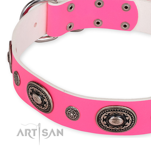 Easy to use leather dog collar with resistant rust-proof buckle and D-ring