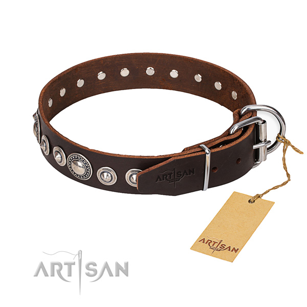 Tough leather dog collar with durable hardware