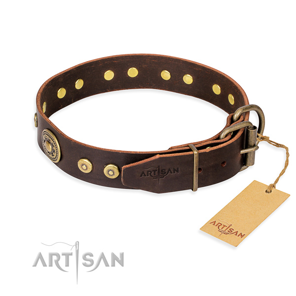 Multifunctional leather collar for your handsome four-legged friend